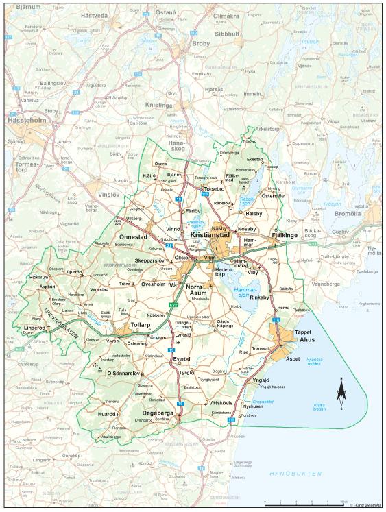 Karta Kristianstads Vattenrike