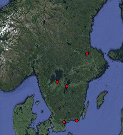 Karta över biosfärområden i Sverige